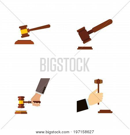 Flat Icon Hammer Set Of Hammer, Law, Crime And Other Vector Objects