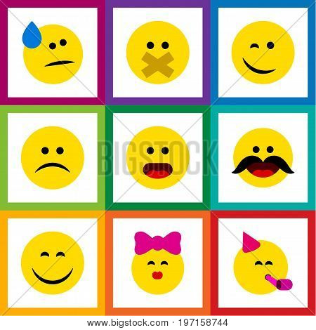 Flat Icon Emoji Set Of Cheerful, Tears, Caress And Other Vector Objects