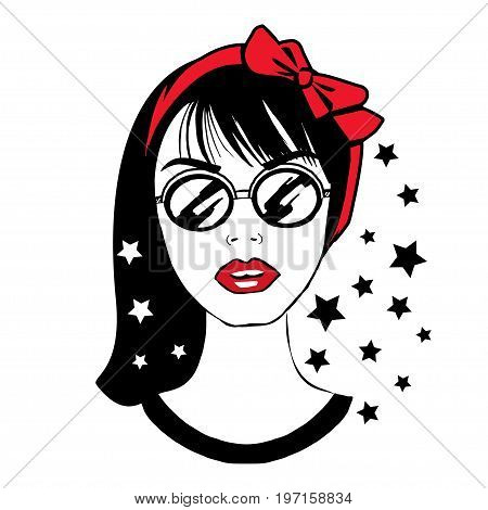 Young pretty teenager girl in sunglasses with red bow on head. Portrait of fashion young brunette. Stylish hipster teen. Vector illustration
