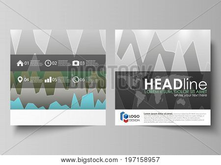 The minimalistic vector illustration of the editable layout of two square format covers design templates for brochure, flyer, booklet. Rows of colored diagram with peaks of different height
