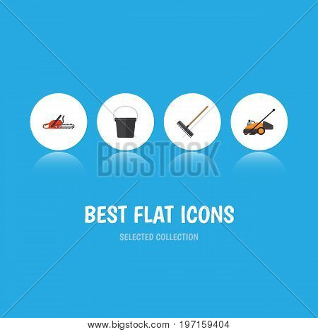 Flat Icon Farm Set Of Hacksaw, Harrow, Lawn Mower And Other Vector Objects