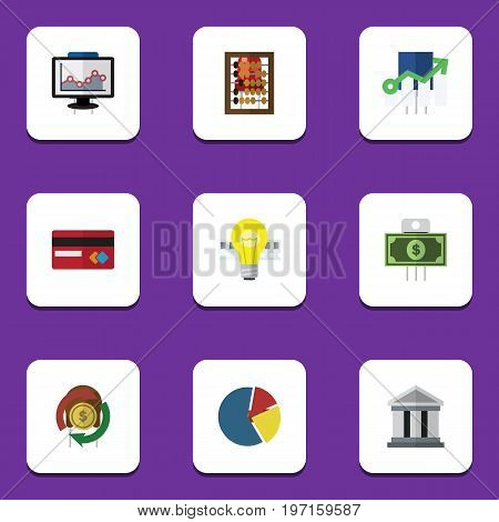 Flat Icon Finance Set Of Payment, Bubl, Counter And Other Vector Objects