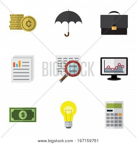 Flat Icon Finance Set Of Document, Portfolio, Greenback And Other Vector Objects