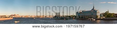 St. Petersburg, Russia - 28 June 2017: Cruiser Aurora, Ship Museum In St. Petersburg.