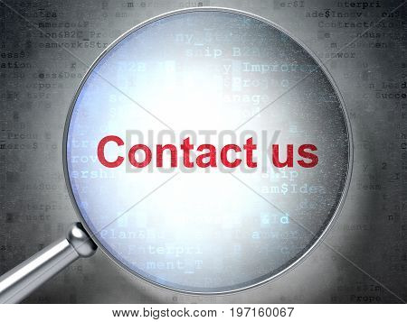 Finance concept: magnifying optical glass with words Contact us on digital background, 3D rendering