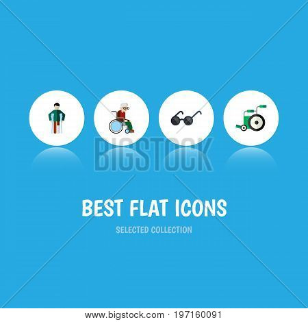 Flat Icon Cripple Set Of Equipment, Wheelchair, Injured And Other Vector Objects