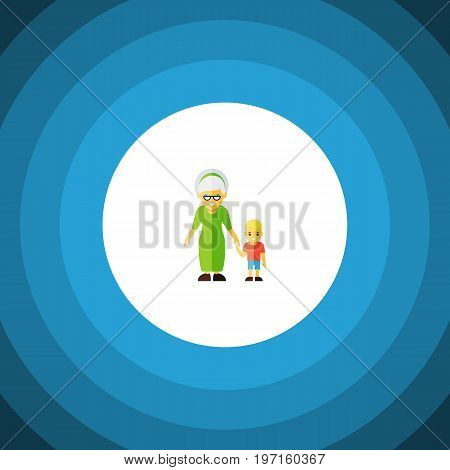 Grandma Vector Element Can Be Used For Grandma, Family, Grandson Design Concept.  Isolated Grandson Flat Icon.
