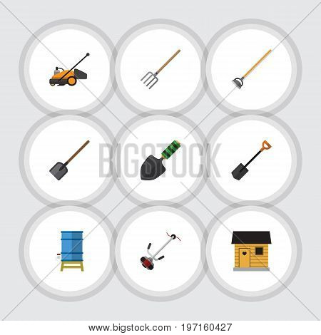 Flat Icon Dacha Set Of Grass-Cutter, Shovel, Stabling And Other Vector Objects