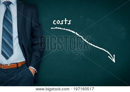Costs reduction, costs cut, costs optimization, business concept. Businessman with simple graph with descending curve.