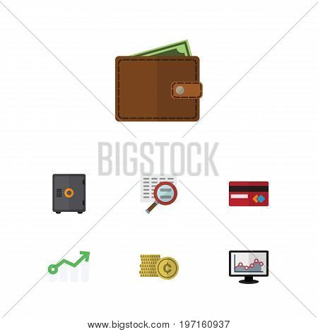 Flat Icon Gain Set Of Cash, Strongbox, Growth And Other Vector Objects