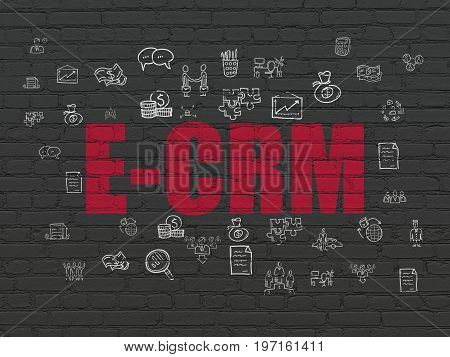Business concept: Painted red text E-CRM on Black Brick wall background with  Hand Drawn Business Icons
