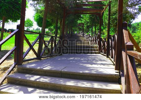 Wooden staircase leading up a walkway towards the Canakkale Martyrs Memorial in Canakkale, Turkey