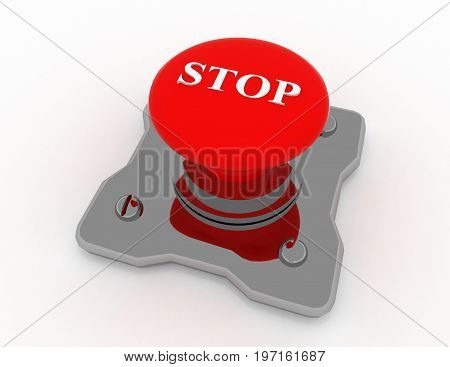 stop button metal . 3d rendered illustration