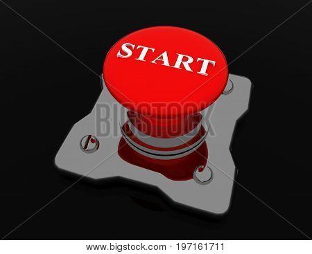 start button . alluminium  . 3d rendered illustration
