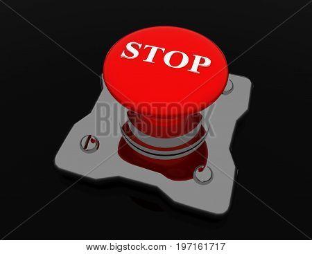 alluminium button stop . 3d rendered illustration