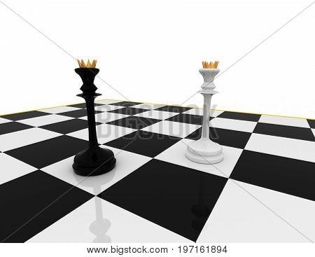 chess concept meeting   . 3d rendered illustration