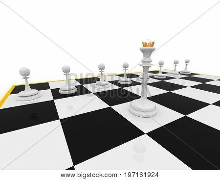 chess concept . leader   . 3d rendered illustration