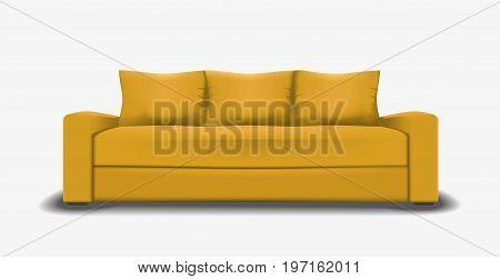 Yellow sofa single object realistic design vector illustration