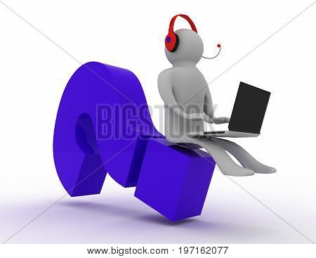 seeking answer . man and laptop  . 3d rendered illustration