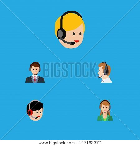 Flat Icon Telemarketing Set Of Secretary, Call Center, Hotline And Other Vector Objects