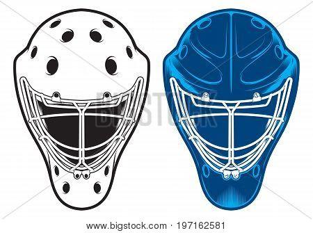 Hockey goalie helmet isolated on white background