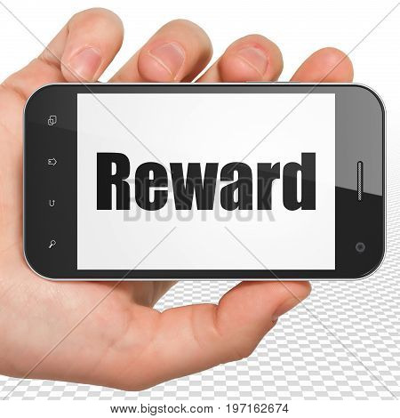 Finance concept: Hand Holding Smartphone with black text Reward on display, 3D rendering