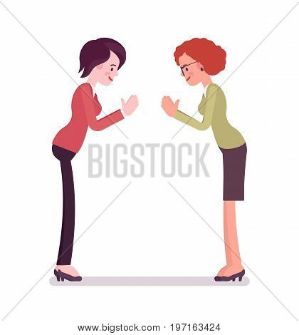 Businesswomen bow gesture. Showing respect, expressing thanks, recognition and acknowledgment gesture. Business relations concept. Vector flat style cartoon illustration, isolated, white background