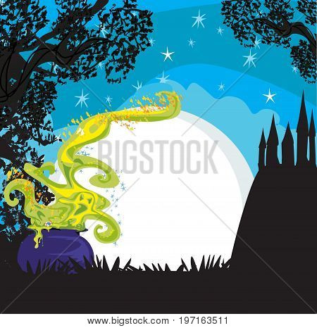 Cauldron with a boiling magic potion , vector illustration