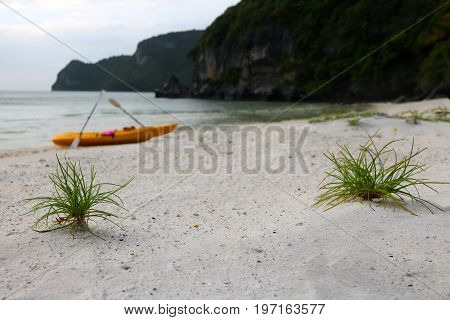 Kayaking on the beach at ang thong archipelago island.Thailand.