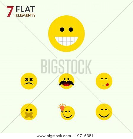 Flat Icon Face Set Of Smile, Have An Good Opinion, Cheerful And Other Vector Objects