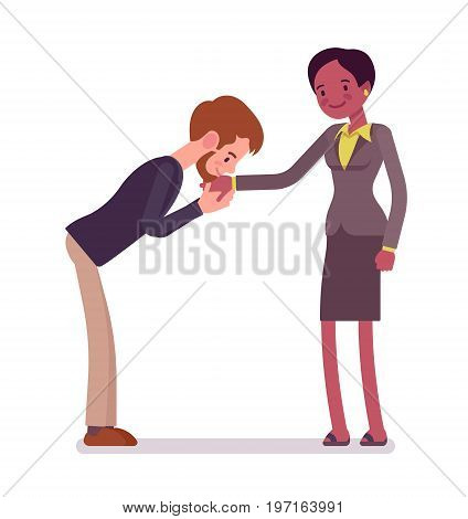 Businessman and businesswoman hand kiss gesture. Office courtesy, basic cross-cultural etiquette. Business manner concept. Vector flat style cartoon illustration, isolated, white background