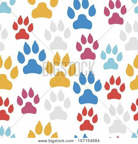 Dog track seamless pattern isolated on white background. Vector illustration.