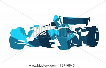 Formula racing car, spots automobile, abstract blue illustration