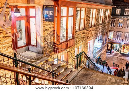 Quebec City, Canada - May 30, 2017: People Walking Up Famous Stairs Or Steps On Lower Old Town Stree