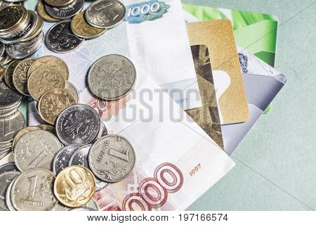 Russian money banknotes and coins credit cards