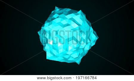 Low poly sphere. Abstract 3d render background. 3d rendering
