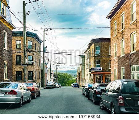 Quebec City, Canada - May 31, 2017: Saint Jean Baptiste Limoilou Area With Saint Olivier Street