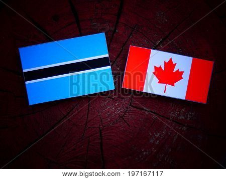 Botswana Flag With Canadian Flag On A Tree Stump Isolated