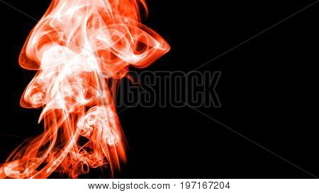 Colorful red smoke on black background. 3d rendering