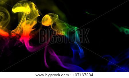 Colorful smoke on black background. 3d rendering