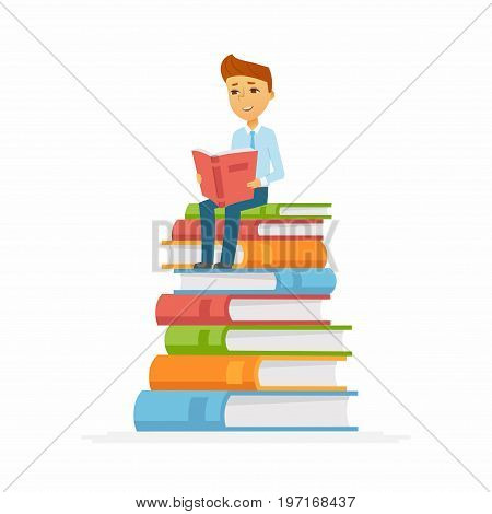 School Boy - modern vector people character illustration of happy teenager child, kid sitting on pile of books reading. A senior student get ready to learn, study, for a new academic year, knowledge
