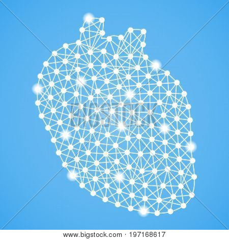 Human Heart Isolated On A Blue Background. Vector Illustration.Cardiology. Creative Medical Concept