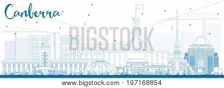 Outline Canberra Skyline with Blue Buildings. Business Travel and Tourism Concept with Modern Architecture. Image for Presentation Banner Placard and Web Site.