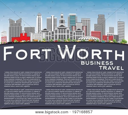 Fort Worth Skyline with Gray Buildings, Blue Sky and Copy Space. Business Travel and Tourism Concept with Modern Architecture. Image for Presentation Banner Placard and Web Site.