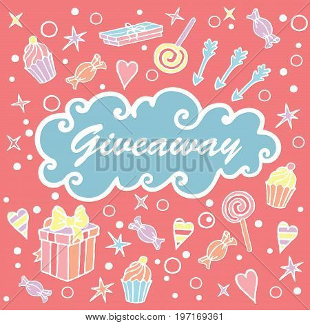 Giveaway, banner with cloud on the coral background / Giveaway banner, freehand style, great for social media