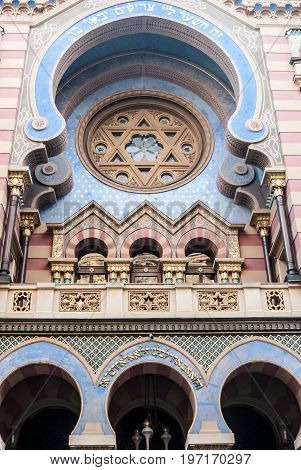 Praha Сzech republic - July 6 2017: detail of Jeruzalemska synagoga synagogue with Star of David in Prague city in Czech republic