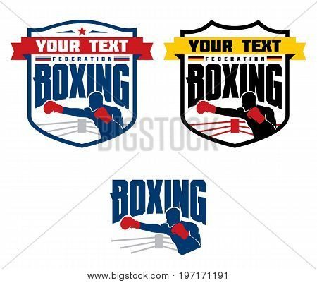 Set of boxing emblems, labels, badges, logos and designed elements. Isolated on white