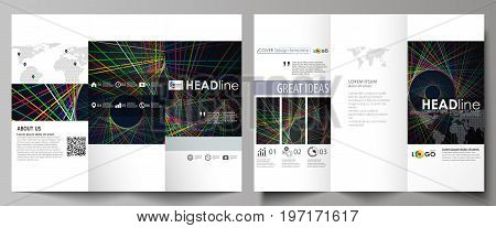 Tri-fold brochure business templates on both sides. Easy editable abstract vector layout in flat design. Bright color lines, colorful beautiful background. Perfect decoration