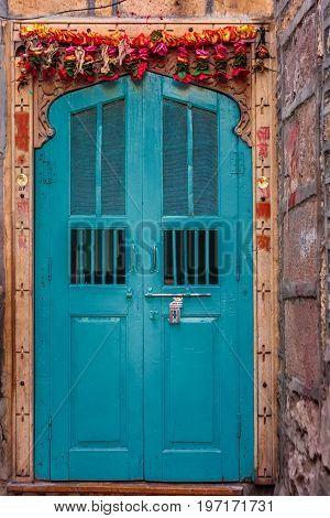 Jaisalmer india antique door at fort in jaisalmer rajasthan india.