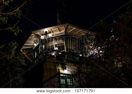 Quebec City, Canada - May 31, 2017: Old Town Closeup View Of Dufferin Terrace At Night With Illumina